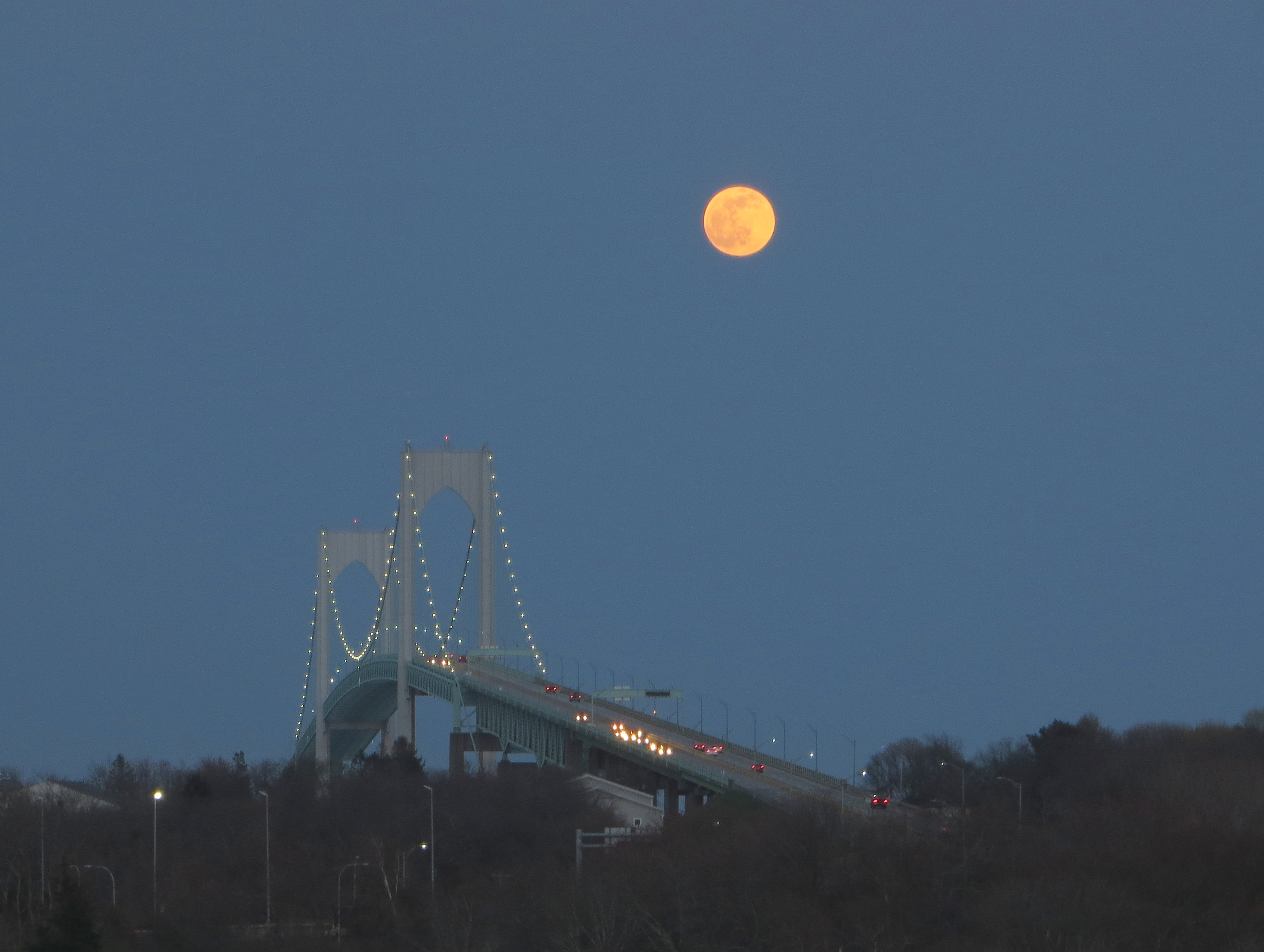 Moon over the Newport Bridge