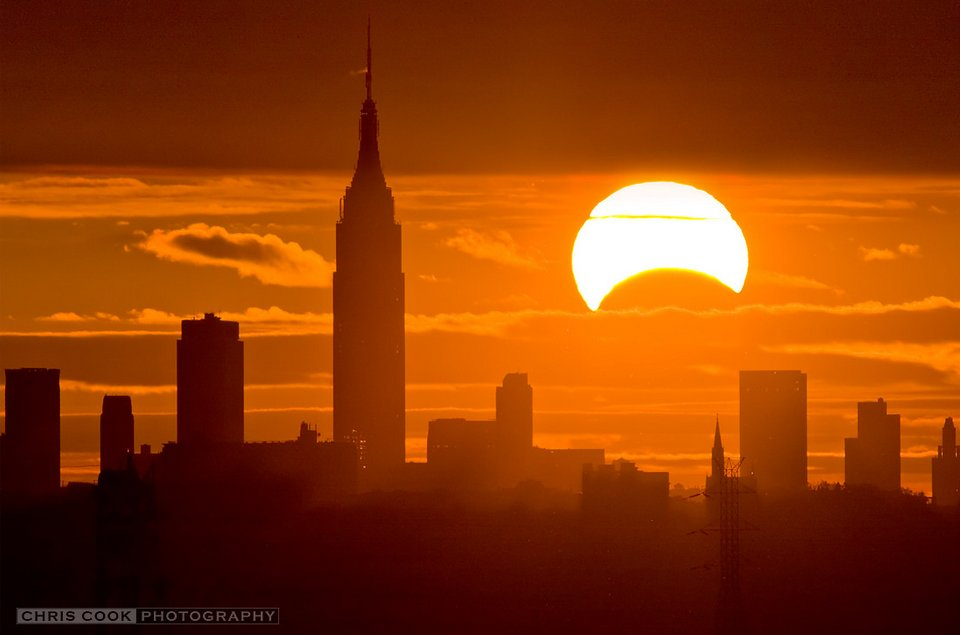 Sunrise eclipse over Manhattan